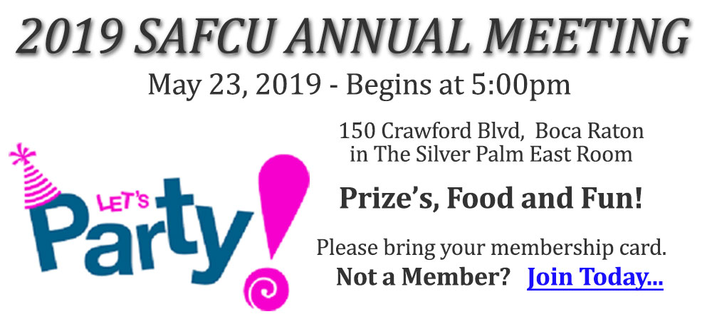 2019 SAFCU annua meeting May 23 at 5pm
